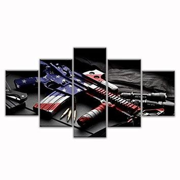 Retro gun American flag Military canvas print art Independence Day home decor wall art pictures for living room 5 panel large poster painting Framed Ready to hang