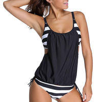 Black Layered-Style Striped Tankini with Triangular Briefs