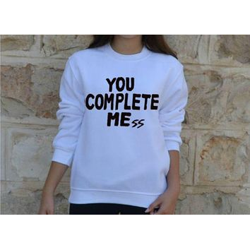 DCCKR2 Fashion personality long-sleeved cotton sweater You Complete Mess Me