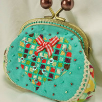 A Heart for Hermoine hand embroidered coin purse in aqua and chocolate