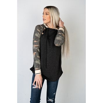Charcoal Camo and Striped Hoodie