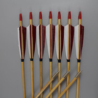 """12X 30~32"""" Red And White Feather Flecthed Wooden Target Arrows For Archery Shooting Practice"""