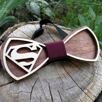 Free Shipping! Superman Bow Tie Wooden Bow Tie Wood Bow Tie Boys Bowtie Wood Bowtie Wooden Bowtie Mens Bow Tie. 100% Hand Made - Mens Gift