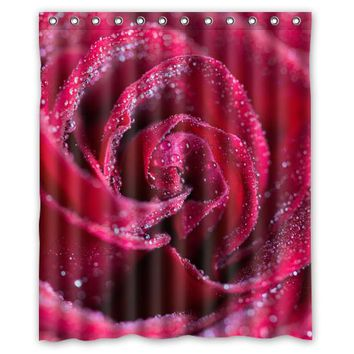 Raindrops Red Rose Customize Create Fabric Bath Waterproof Shower Curtain Bathroom Products Curtains 48x72, 60x72, 66x 72 inches