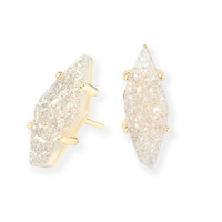 Kendra Scott: Brook Gold Stud Earrings In Iridescent Drusy Stone