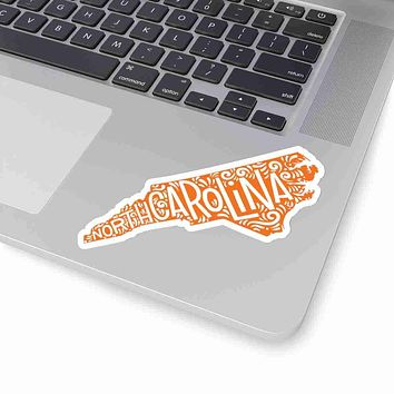 North Carlina State Shape Sticker Decal - Orange
