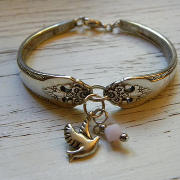 Fork handle bracelet - dove charm - milky pink Swarovski crystal - silver plated - you can choose crystal color