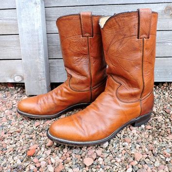 Vintage cowboy boots 9 D /  Mens Justin roper boots / brown leather western boots / Justin boots made in the USA