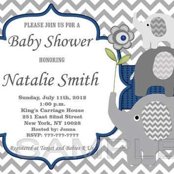 Elephant Baby Shower Invitation Boy Baby Shower Invitation Baby Boy Shower Invitation Baby Shower Invite Blue (06) - Free Thank You Card