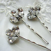 Bridal hair pins, bridesmaid, Rhinestone hair pins, Head Piece, Set of 3, vintage style,  wedding hair ACCESSORIES,