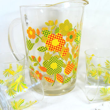 Vintage Pitcher Flower Power and 4 Small Tumblers Birds Flowers , Patio Drinking Set Juice Glass Carafe