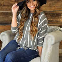 * Follow My Direction Super Soft Striped Top: Grey/White