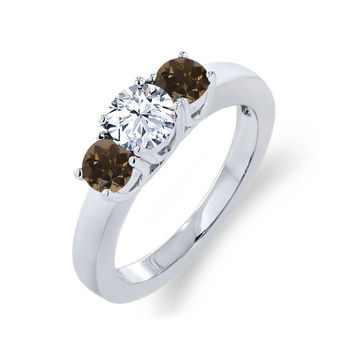 1.02 Ct Round White Topaz Brown Smoky Quartz 925 Sterling Silver Ring