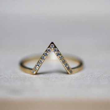 Thin Engagement Ring, Thin Diamond Ring, Thin Diamond Band, Thin Gold Band, Stacking Ring, V Ring