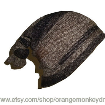 Slouchy knit geometric thick HAT cap bohemian hippie beanie unisex men women brown tan