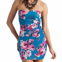 floral tube dress $35.70 in TURQPINK - Nightclub | GoJane.com