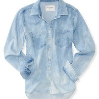 Long Sleeve Bleached Chambray Woven Shirt