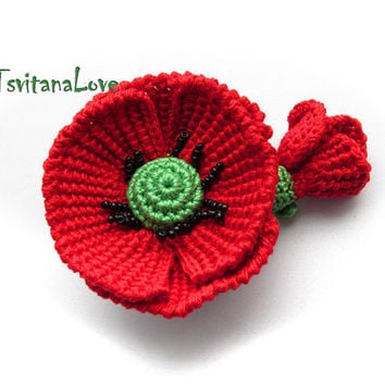 SALE! - Ready to ship in - Poppy brooch - crocheted poppy - Red poppy - Red flower with green leaves - accessories woman - to be remembered