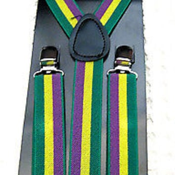 MARDI GRAS TUXEDO ADJUSTABLE BOW TIE+MATCHING ADJUSTABLE SUSPENDERS COMBO!