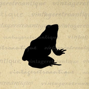 Digital Image Frog Silhouette Graphic Illustration Printable Download Antique Clip Art for Transfers etc HQ 300dpi No.3311