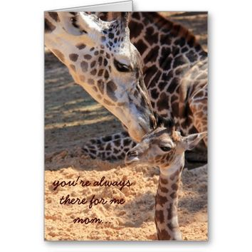Cute Mothers Day Card, Giraffe Mom & Baby
