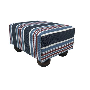 New England Patriotic Stripe Upholstered Fabric Footstool Ottoman