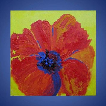 Poppy painting small acrylic on canvas 8x8 by devikasart on Etsy
