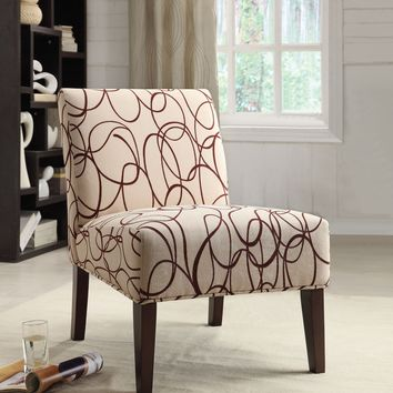 Aberly Armless Accent Chair With Printed Fabric