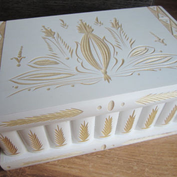 Secret Compartment Jewelry Puzzle Box Case From Hungary White Gold 8.5 inch