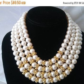 8cb942c5d9a ON SALE VINTAGE Richelieu High End Faux Pearl 4 Strand Necklace, Vintage  Wedding, Vintage
