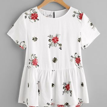 Flower Embroidered Keyhole Back Smock Top WHITE