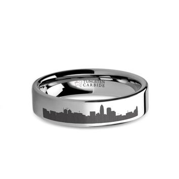 Charlotte City Skyline Cityscape Laser Engraved Tungsten Ring