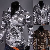 Stylish Camouflage Casual Denim Blouse Men Men's Fashion Tops Jacket [6528874563]