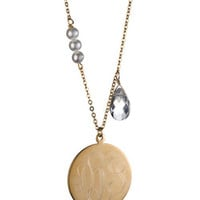 Danielle Stevens Monogram Gold Circle Necklace