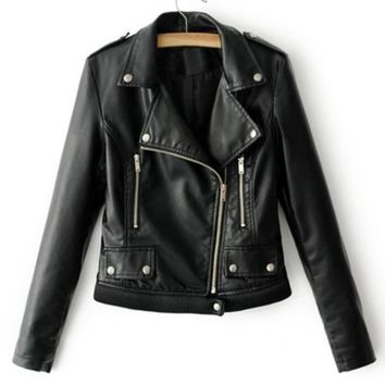 Ribbed Hem Vegan Biker Rider's Jacket
