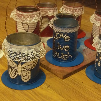 Tin Can Punch Lantern Candle Holder Custom Made