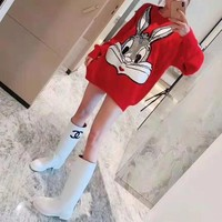 """""""Gucci"""" Women Fashion Sequin Embroidery Cartoon Rabbit Bugs Bunny Long Sleeve Knit Sweater Tops"""