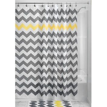 """Taylor"" Chevron Pattern 72-inch Shower Curtain in Grey, Yellow & White"