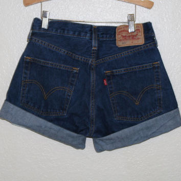 80s 90s 501 levis button fly dark high waist shorts cut offs cuffed 28 27 s m grunge hipster hippie boho festival