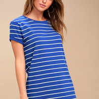 Cafe Society Royal Blue Striped Shirt Dress