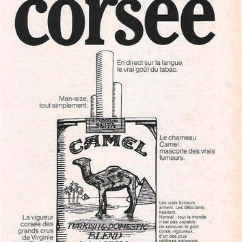 French 1969 Camel Cigarettes Advertisement Wall Decor Cigarette Ad Camel Advertisement French Decor Rare Ad Man Cave Decor