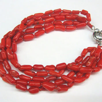 Red Coral Bracelet, Multistrand,  Poppy Red Natural Gemstone, summer trend, Ukrainian Ethnic Style