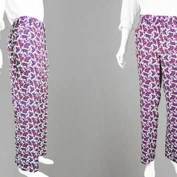 Vintage 70s Hippie Pants Men's Paisley Pants Psychedelic Slacks Hippy Trousers Straight Leg Bright Bold Pants 1970s Dandy Pants White Pants