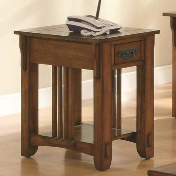Transitional Style Solid Wooden Accent Table With Drawer And Open Shelf, Brown - 702006
