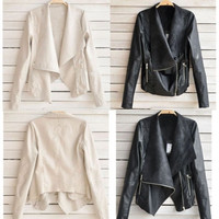 Fashion Autumn Winter Women Lady PU Leather Coat Jacket Women Basic Coats Jackets Women Casual coat Jacket Women Outcoat L/M/XL/2X/3X 2 Colors Black & Taupe [7653824070]
