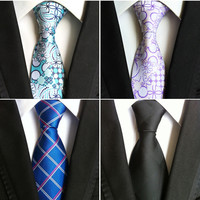 New Arrival 100% Hand Made Jacquard Woven Silk Men Ties Neck Tie Striped Ties for Men Business Suit Wedding Party