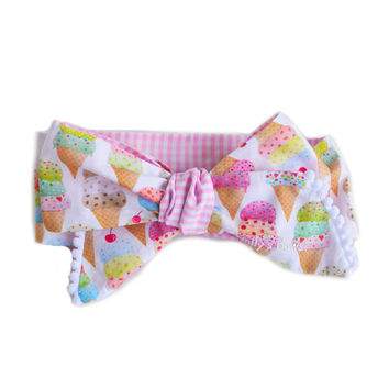 Ice Cream Bow for baby girl & toddler // Handmade headwrap, turban, headband, pony tail. Oversized, cute, hair accessory for your princess!