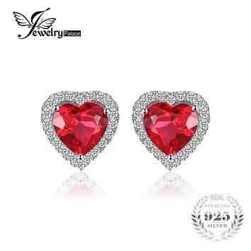 JewelryPalace Heart Of Ocean 3.8ct Created Red Ruby Love Forever Halo Earrings 925 Sterling Silver Earring for Women