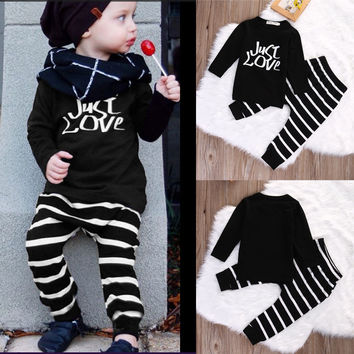 Toddler Kids Baby Boys Girls Clothing Outfits Tops Clothes Long Sleeve Cotton T-shirt + Pants Casual 2pcs Set