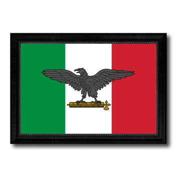 Italy War Eagle Italian Military Military Flag Canvas Print Black Picture Frame Gifts Home Decor Wall Art